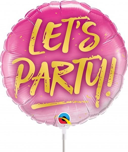 "Qualatex Folienballon Let's Party! 23cm/9"" luftgefüllt mit Stab"
