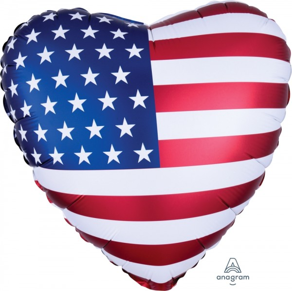 Anagram Folienballon Satin Herz USA Flagge (USA Flag) 60cm/24""