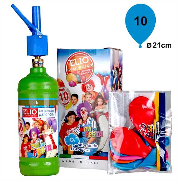 Ballongas Set: Helium & 10 Luftballons (Ø 21cm)