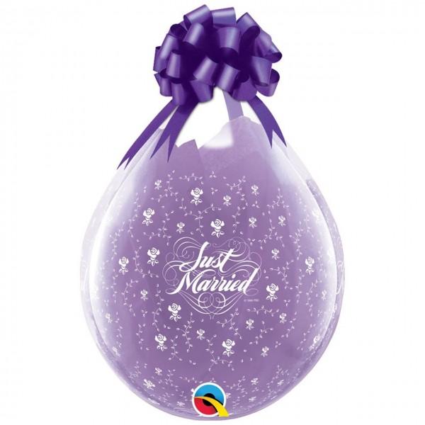 "Qualatex Verpackungsballon Just Married Roses Diamond Clear 45cm/18"" 25 Stück"