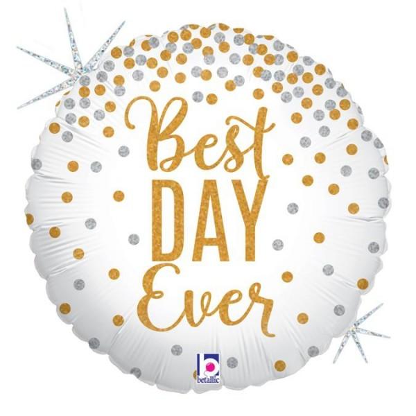 "Betallic Folienballon Best DAY Ever Glitter Holographic 46cm/18"""