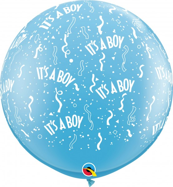 Qualatex Latexballon Standard It's A Boy Pale Blue 90cm/3' 2 Stück