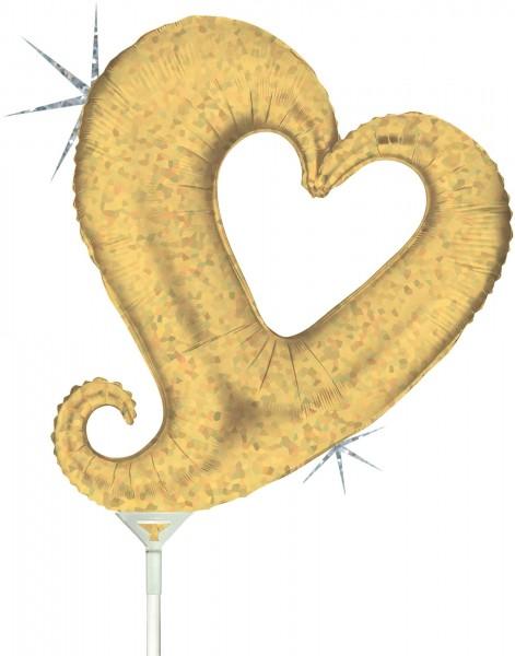 "Grabo Folienballon Chain of Hearts Gold Holographic Mini 35cm/14"" luftgefüllt mit Stab"