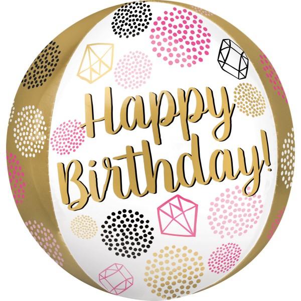 "Anagram Folienballon Orbz ""Happy Birthday"" Gems 40cm/16"""