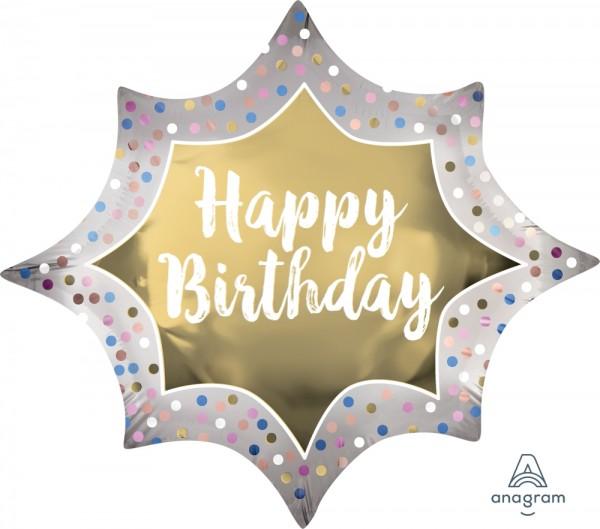 "Anagram Folienballon Satin 90cm Durchmesser ""Happy Birthday"" Gold Burst"