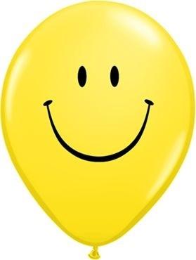 "Qualatex Latexballon Smile Face Yellow 28cm/11"" 6 Stück"