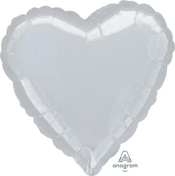 Anagram Folienballon Herz 80cm Durchmesser Metallic Silber (Metallic Silver)