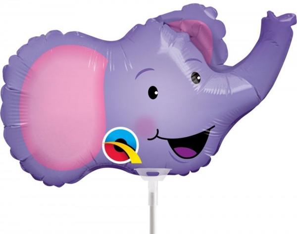 "Qualatex Folienballon Elated Elephant 35cm/14"" luftgefüllt mit Stab"