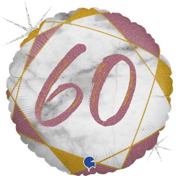 "Grabo Folienballon Marble Mate Zahl 60 Rund 45cm/18"""