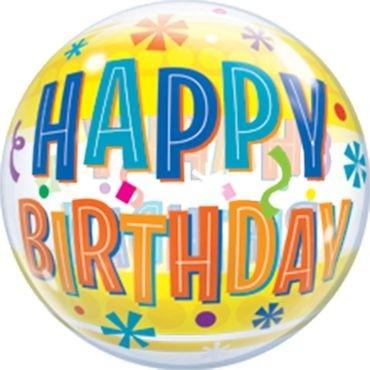 "Qualatex Bubbles Birthday Fun & Yellow Bands 55cm/22"""