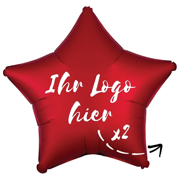 "Folien-Werbeballon Stern Satin Luxe Sangria 50cm/20"" 2-Seitig bedruckt"