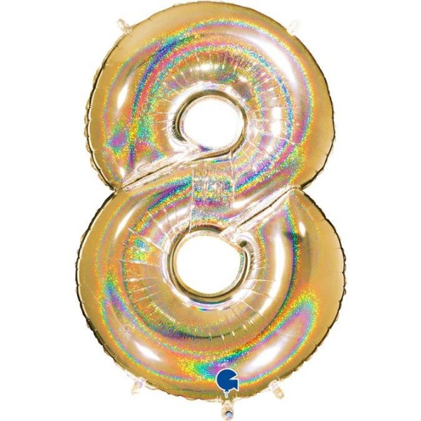 "Grabo Folienballon Zahl 8 Glitter Holographic Gold 100cm/40"""