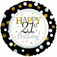 "CTI Folienballon 18"" Happy 21th Birthday Schwarz & Gold"