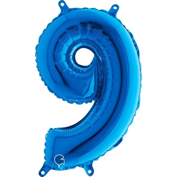 "Grabo Folienballon Zahl 9 Blue 35cm/14"""