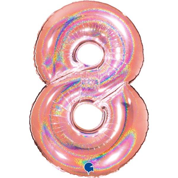 """Grabo Folienballon Zahl 8 Glitter Holographic Rose 100cm/40"""""""