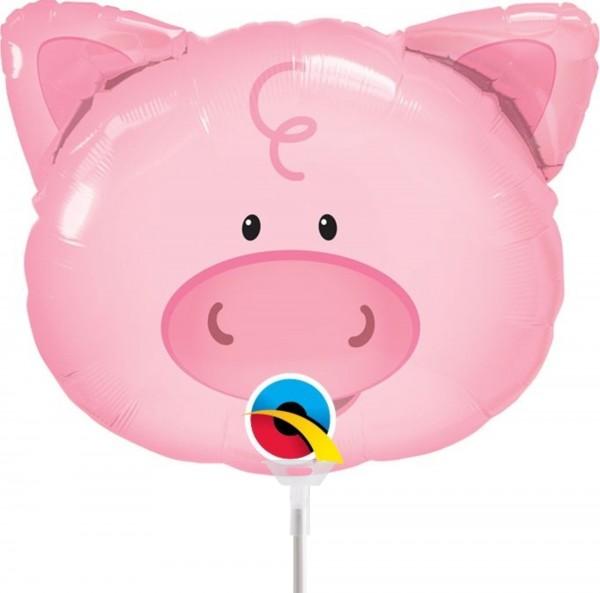 "Qualatex Folienballon Playful Pig 35cm/14"" luftgefüllt mit Stab"