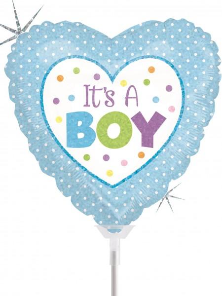 "Betallic Folienballon Baby Boy Dots Holographic 23cm/9"" luftgefüllt mit Stab"