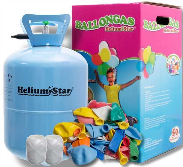 Helium Ballongas Set: Helium & 50 bunte Latexballons (Ø 25cm)