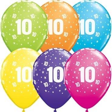 """Qualatex Latexballon Stars 10-A-Round Tropical Assorment 28cm/11"""" 25 Stück"""