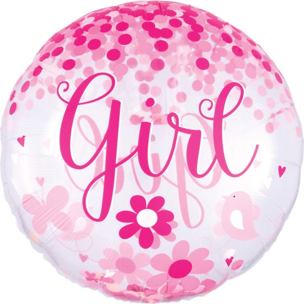 "Anagram Folienballon Rund ""Baby Girl"" 70cm/27"""