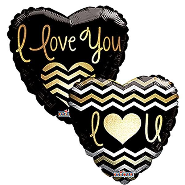 """Kaleidoscope Folienballon I Love You - Goldene Schrift 45cm/18"""""""