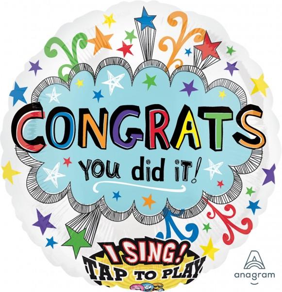 "Anagram Folienballon Sing-A-Tune ""Congrats You Did it"" 70cm/27"""