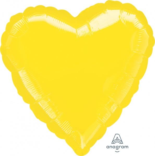 "Anagram Folienballon Herz Metallic Gelb (Yellow) 45cm/18"""