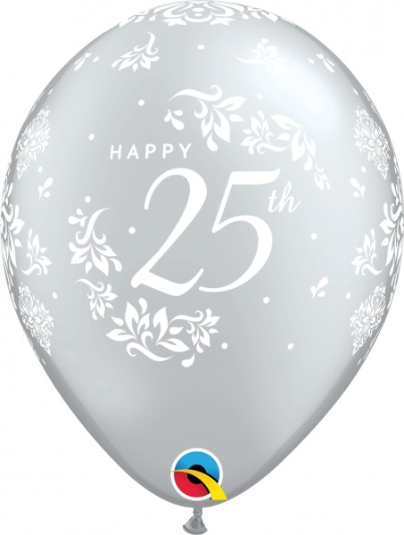 "Qualatex Latexballon 25th Anniversary Damask Silver 28cm/11"" 25 Stück"