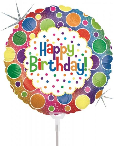 "Betallic Folienballon Rainbow Dots Birthday Holographic 23cm/9"" luftgefüllt mit Stab"