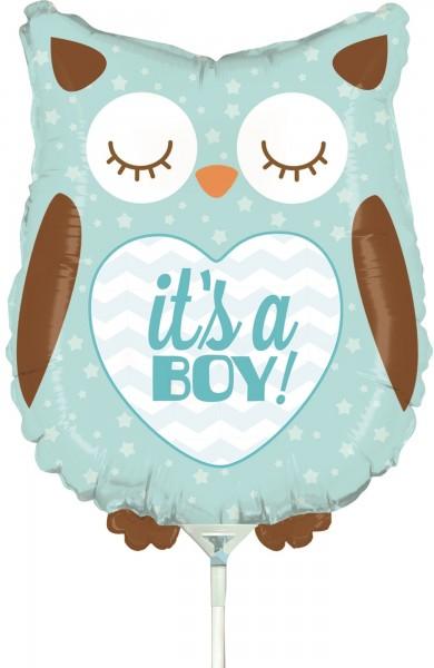"Betallic Folienballon Baby Boy Owl Mini 35cm/14"" luftgefüllt inkl. Stab"