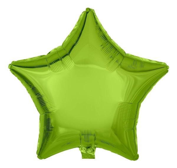Folienballon Stern, Metallic Limongrün, 50cm Ø