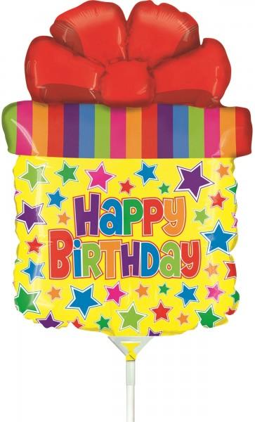 """Betallic Folienballon Mini Birthday Present SQ 35cm/14"""" luftgefüllt mit Stab"""