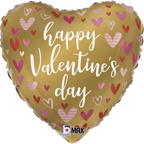 "Betallic Folienballon Gold Valentine Hearts 45cm/18"""