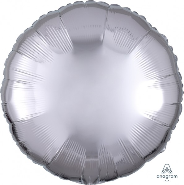 "Anagram Folienballon Rund Metallic Silver 45cm/18"""