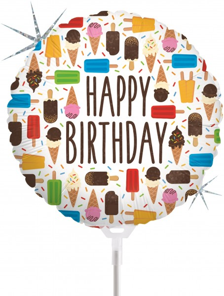 "Betallic Folienballon Birthday Ice Cream Holographic 23cm/9"" luftgefüllt inkl. Stab"