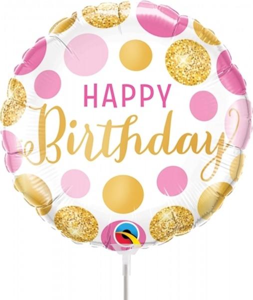 "Qualatex Folienballon Birthday Pink & Gold Dots 23cm/9"" luftgefüllt inkl. Stab"