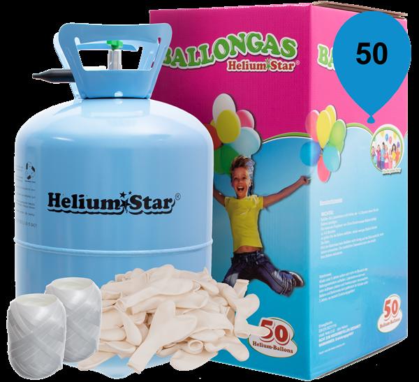 Ballongas Set: Helium & 50 weiße Latex-Herzballons