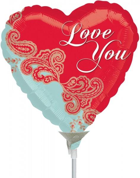 "Anagram Folienballon Paisley Love 23cm/9"" luftgefüllt inkl. Stab"