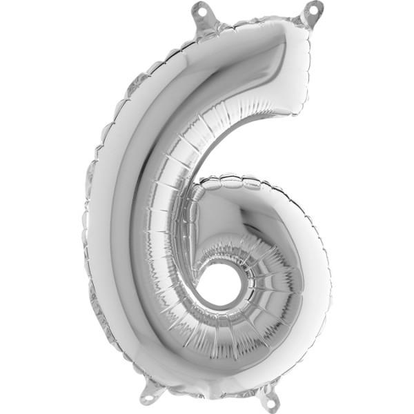 """Grabo Folienballon Zahl 6 Silver 36cm/14"""""""