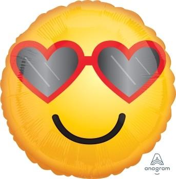 "Anagram Folienballon Rund 45cm Durchmesser ""Heart Glasses"" Emoticon"