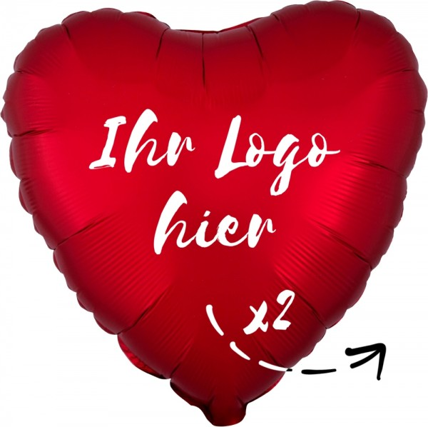 "Folien-Werbeballon Herz Satin Luxe Sangria 45cm/18"" 2-Seitig bedruckt"
