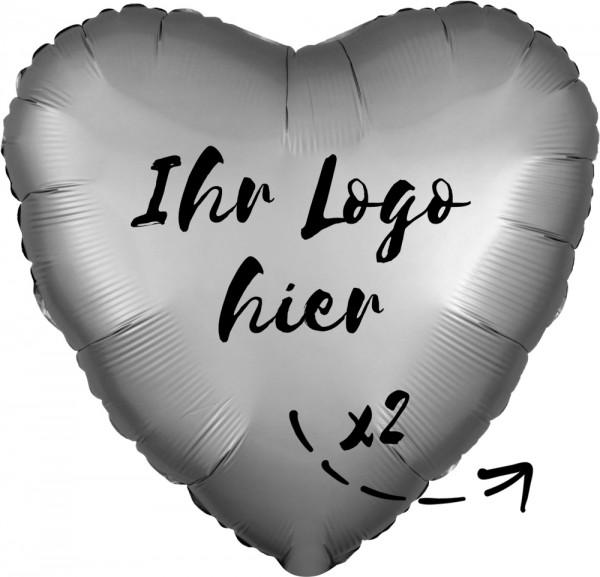 "Folien-Werbeballon Herz Satin Luxe Platinum 45cm/18"" 2-Seitig bedruckt"