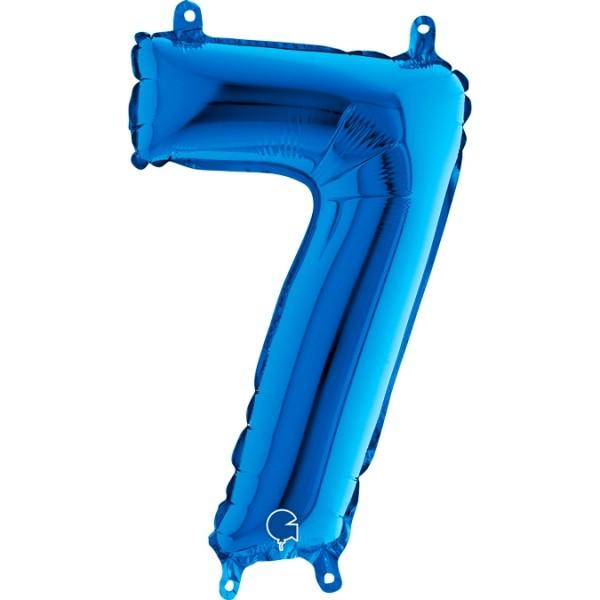"Grabo Folienballon Blau 36cm/14"" Zahl 7"