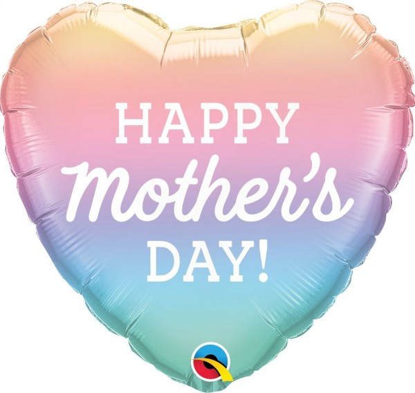 "Qualatex Folienballon Heart ""Happy Mother's Day"" Pastel Ombre 46cm/18"""