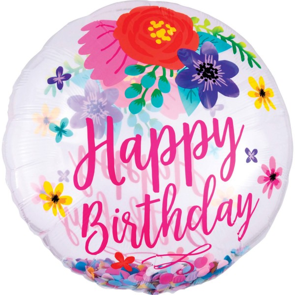 "Anagram Folienballon Rund ""Happy Birthday"" Konfetti Blumen (Confetti Floral Fun) 70cm/27"""