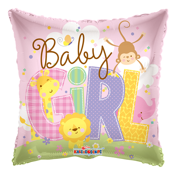 "Kaleidoscope Folienballon ""Baby Girl Rosa - Tierbabys"" 45cm/18"""