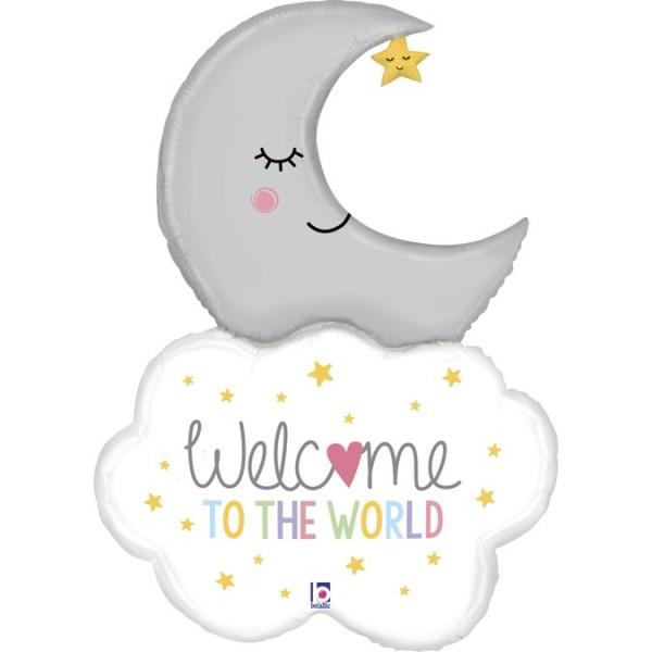 "Betallic Folienballon Welcome To The World Mond mit Wolke 107cm/42"""