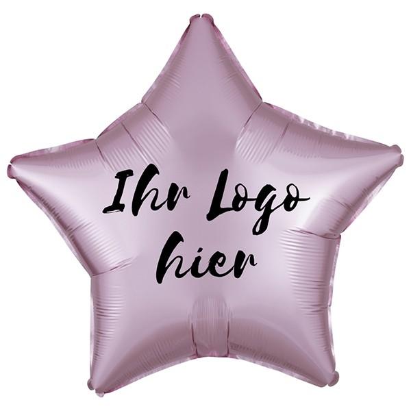 "Folien-Werbeballon Stern Satin Luxe Pastel Rose 50cm/20"" 1-Seitig bedruckt"