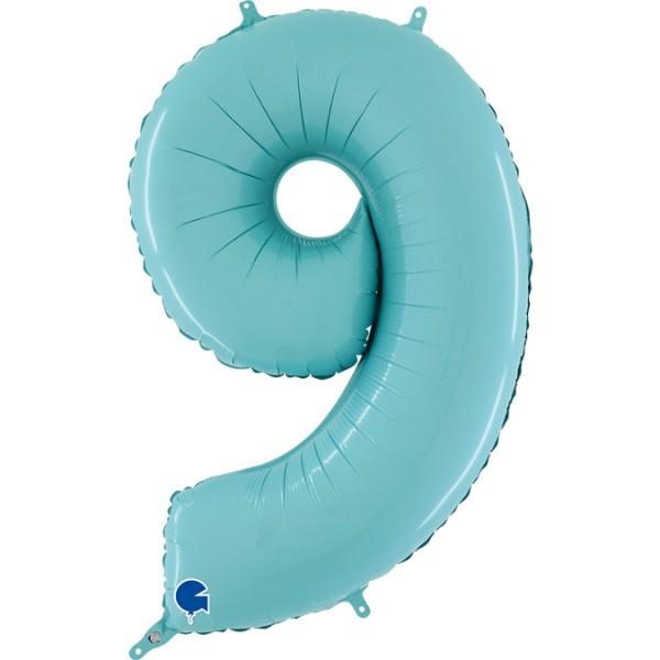 "Grabo Folienballon Zahl 9 Pastel Blue 66cm/26"""