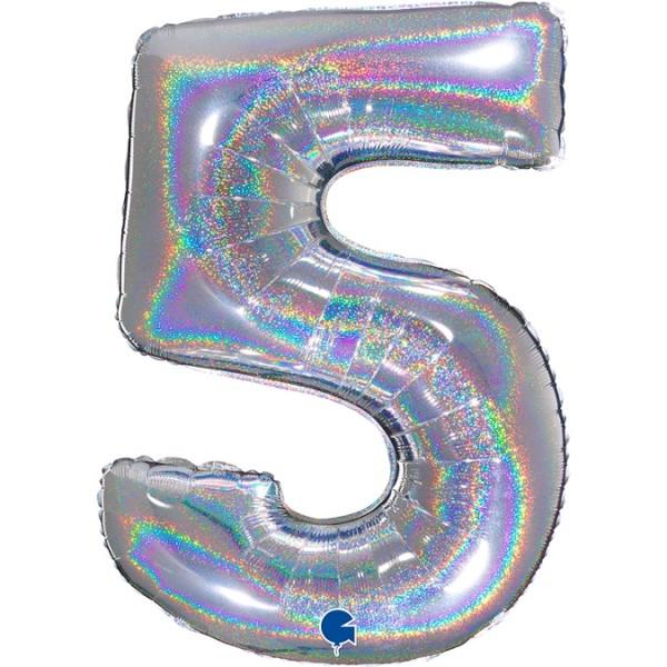 """Grabo Folienballon Zahl 5 Glitter Holographic Silver 100cm/40"""""""